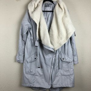 ASOS Grey Slouchy Teddy Bear Lined Raincoat 8